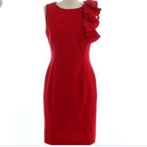 Calvin Klein size 6 red ruffle work dress